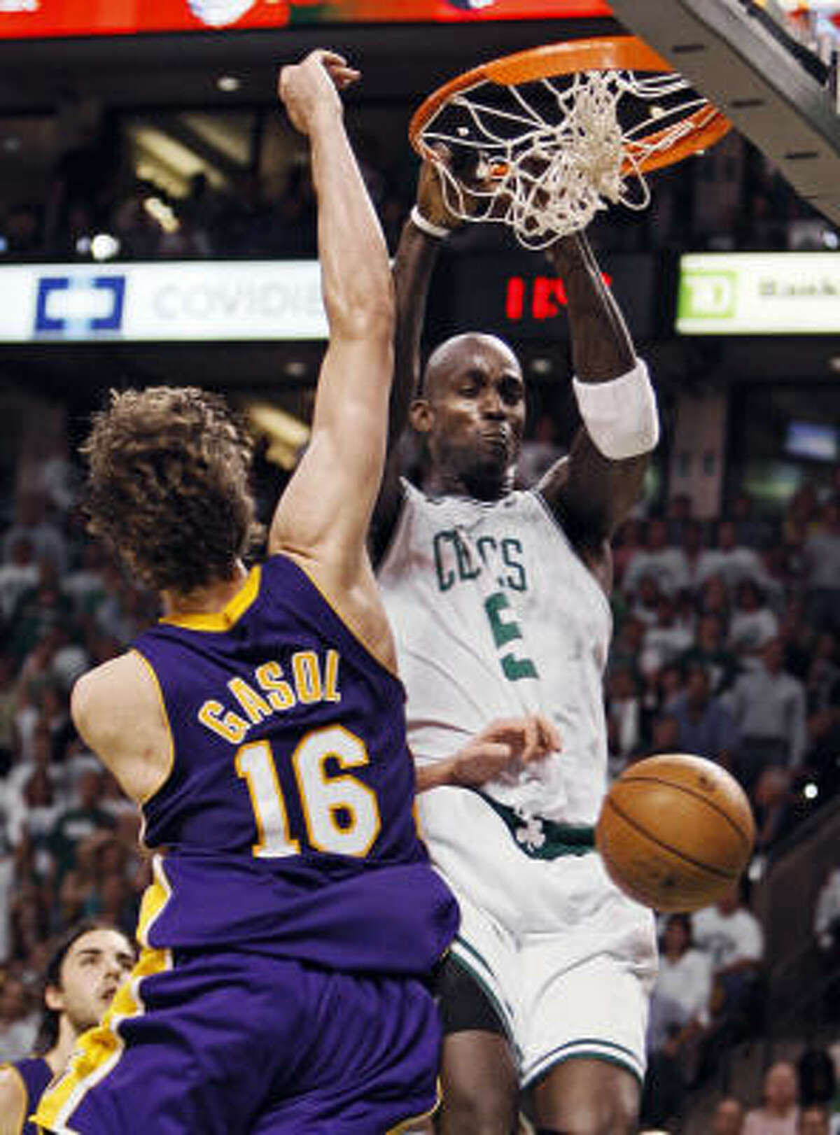 Kevin Garnett led the Celtics to their record 17th NBA title in 2008. It was the ninth time in 11 meetings the Celtics beat the Lakers in the NBA finals.