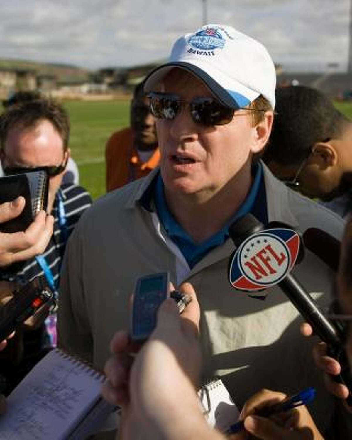NFL commissioner Roger Goodell speaks to reporters during AFC Pro Bowl football practice.