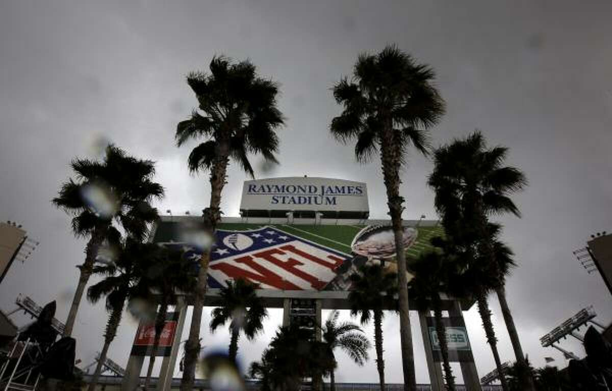 Rain falls outside Raymond James Stadium, home for Super Bowl XLIII.