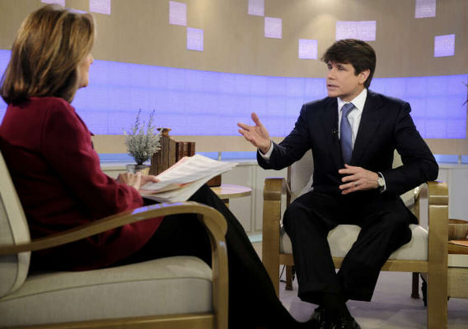 "Former Illinois Gov. Rod Blagojevich is interviewed by NBC ""Today"" television show co-host Meredith Vieira in New York Tuesday, Feb. 3. Blagojevich is lashing out at lawmakers who booted him from office, calling his removal a ""hijacking."" Photo: Richard Drew, AP"