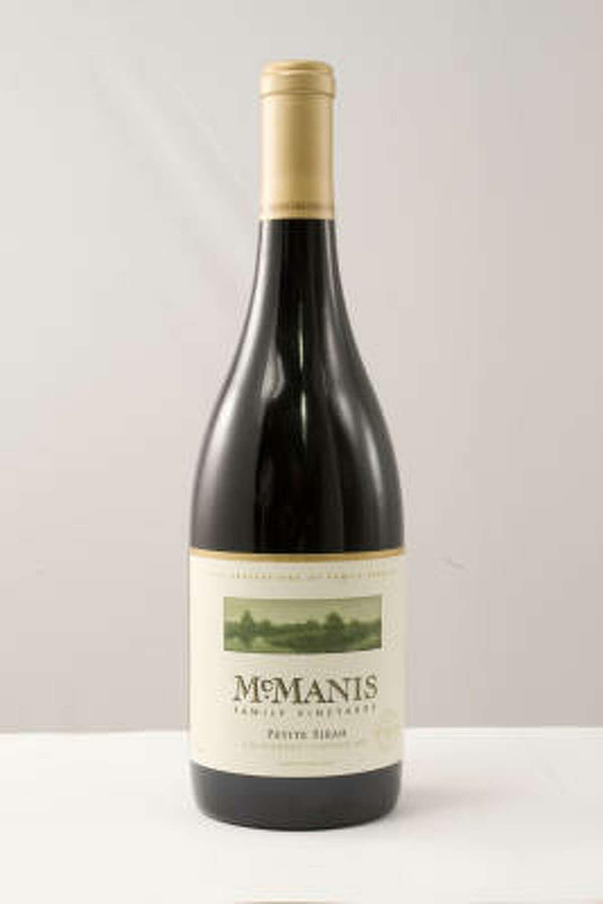 Reserve Grand Champion Best of Show: 2007 McManis Family Vineyards Petite Sirah, California.
