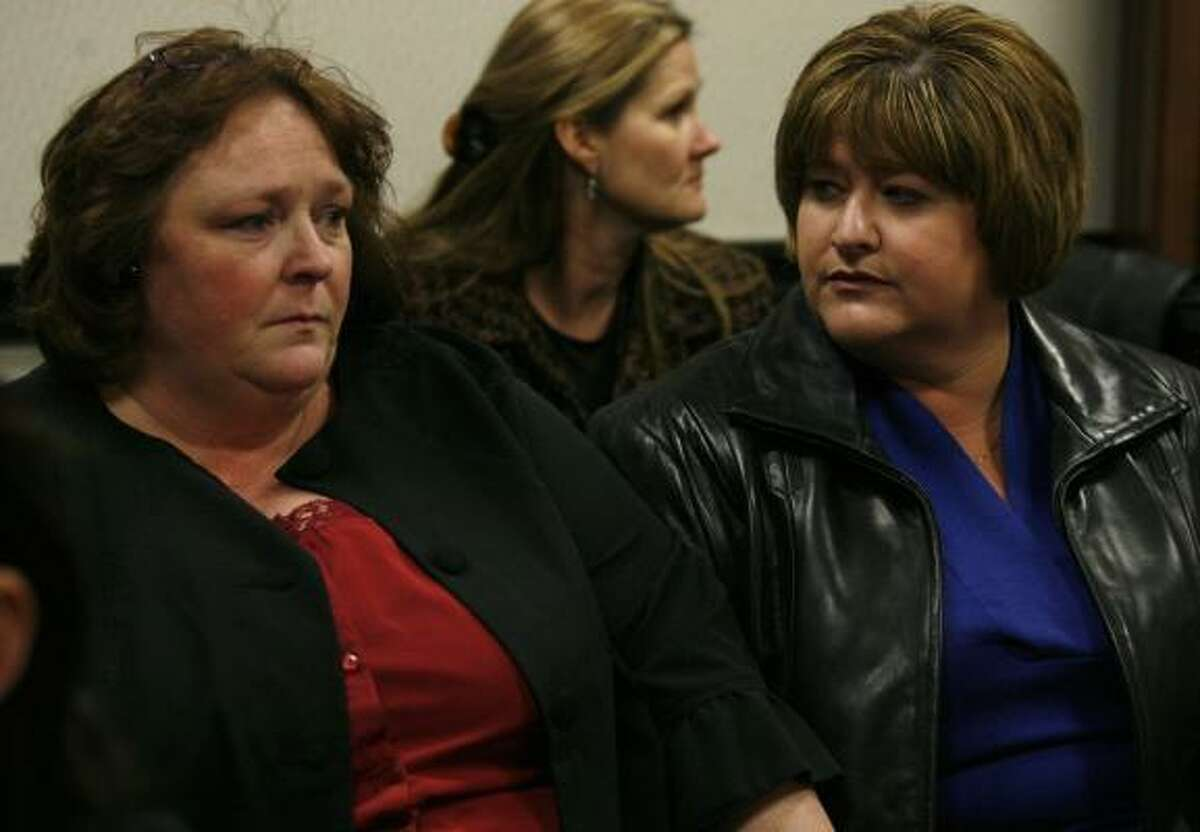 Sheryl Sawyers, Riley Ann Sawyers' grandmother, left, and her attorney Laura DePledge wait for the verdict in Kimberly Dawn Trenor's capital murder trial Monday in Galveston. Trenor was found guilty in the 2007 death of her two-year-old daughter Riley Ann Sawyers.