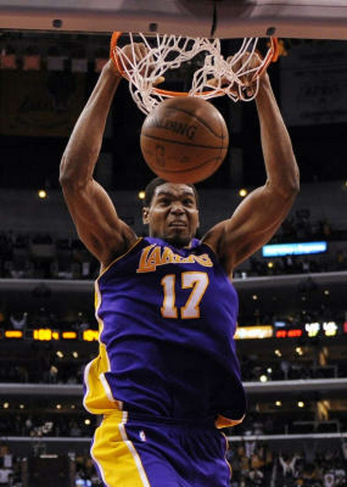 2 - LOS ANGELES LAKERS - (Last wk: 2) - 40-9 - The Lakers definitely made up for that last-second loss on Roger Mason's shot a few weeks ago in San Antonio. They got the Spurs back on the Staples Center floor and served up a replay of last year's playoffs. Jordan Farmar is back in the lineup and Andrew Bynum (pictured) is taking strides. Every weapon will be needed as LA has more road games (24) left to play than any team in the league.