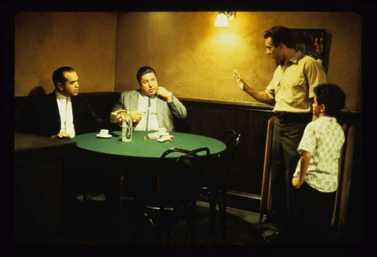 Palminteri, left, plays Sonny in the 1993 film version of A Bronx Tale. Robert De Niro, standing, starred as Lorenzo.