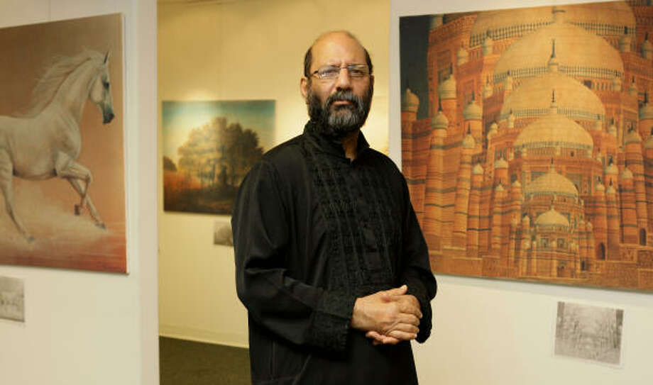 Jimmy Engineer a Pakistani artist and human rights activist. He has painted over 2000 originals and 1000 calligraphies; and often focuses on the 1948 creation of Pakistan. Photo: Melissa Phillip, Chronicle