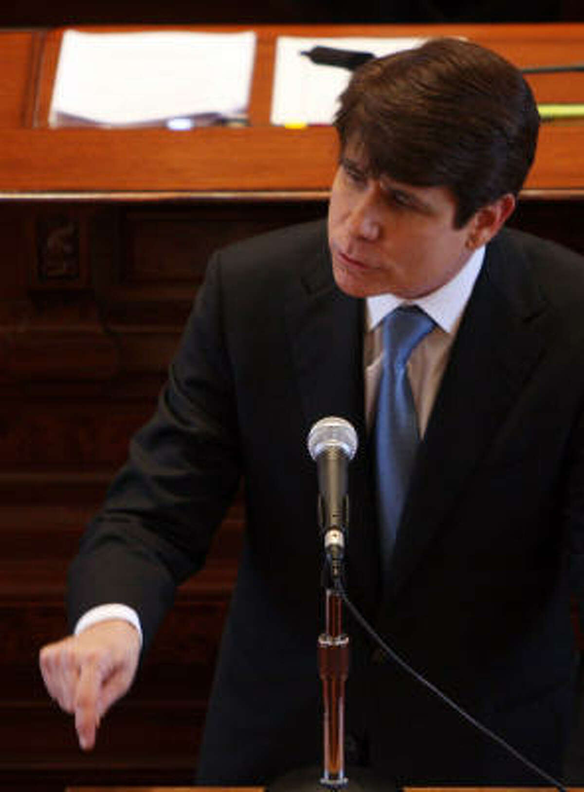 Illinois Gov. Rod Blagojevich addresses the Illinois Senate during his impeachment trial on Thursday in Springfield, Ill.