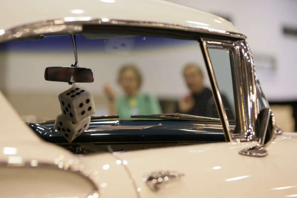 Fuzzy dice adds a cooler look to a 1958 Chevy Impala at the Houston Auto Show on Tuesday.