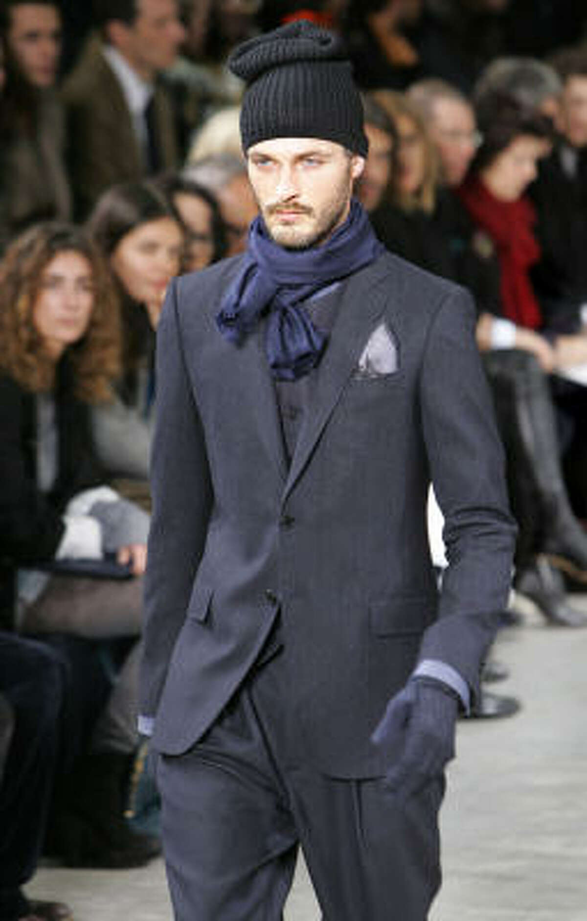 Suited up at Louis Vuitton.