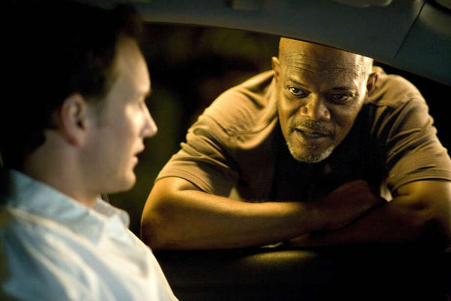 Patrick Wilson, left, and Samuel L. Jackson in Lakeview Terrace. Photo: Chuck Zlotnick, Sony Pictures