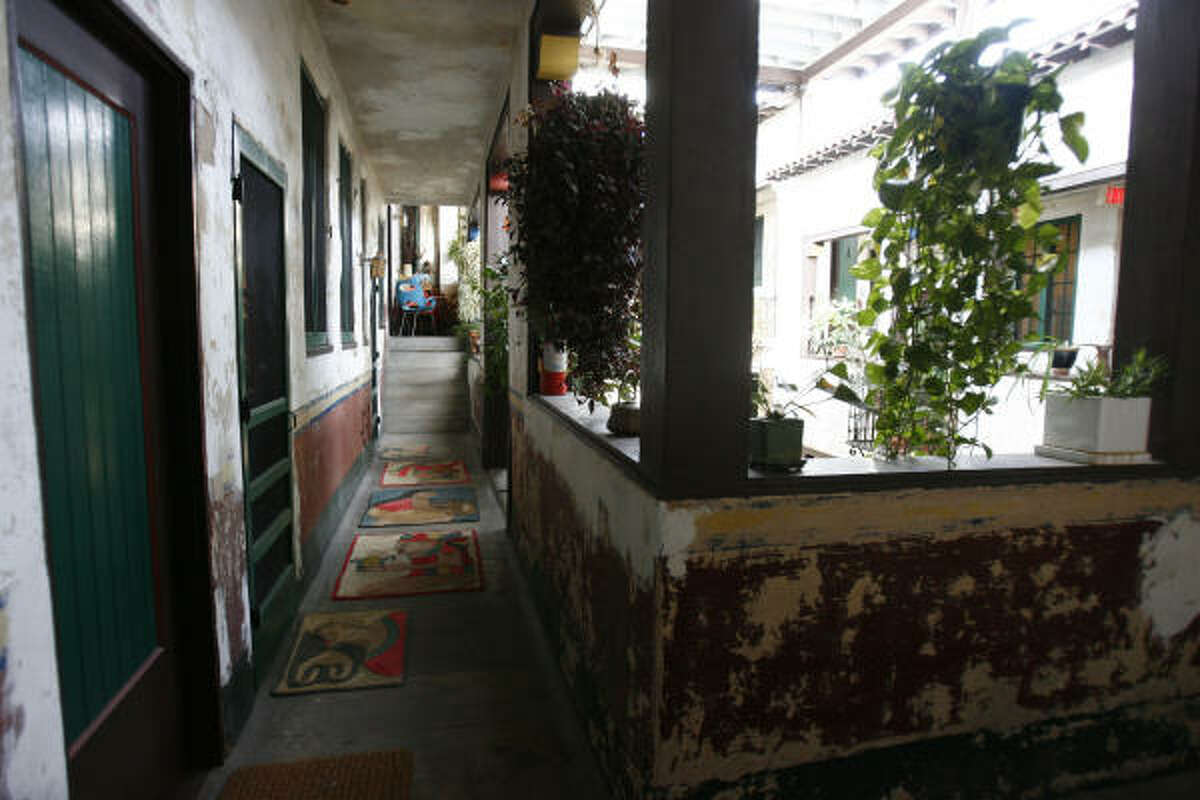 An interior courtyard hallway in the 80-year-old Isabella Court.