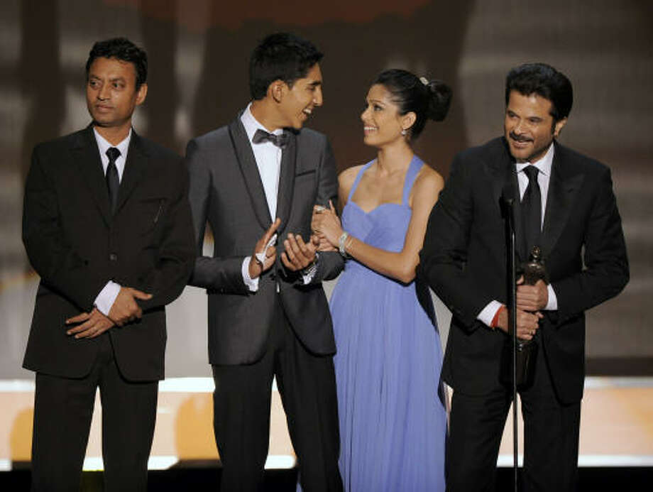 Movie cast:Slumdog Millionaire. Photo: Mark J. Terrill, AP
