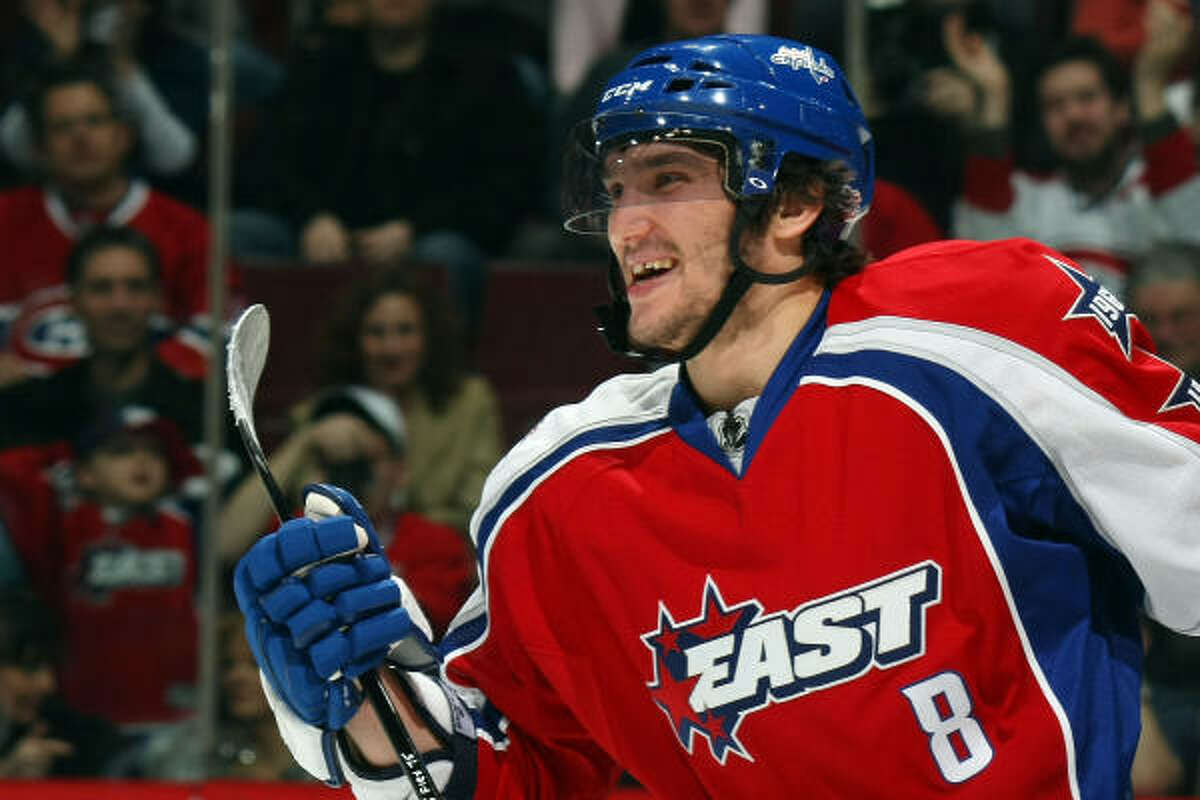 Alex Ovechkin of the Washington Capitals celebrates after a goal during the first period.