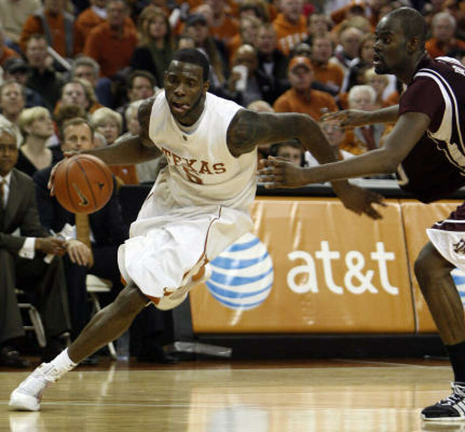 No. 14 Texas 67, Texas A&M 58 Damion James scored 28 points to lead Texas past Big 12 rival Texas A&M. Photo: Deborah Cannon, AP