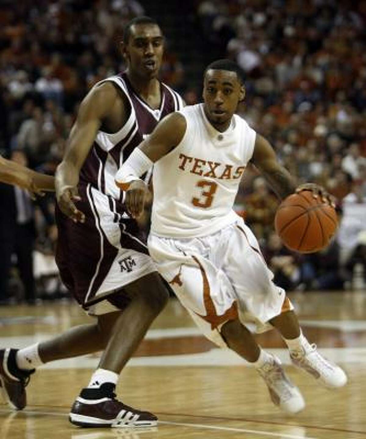 Texas' A.J. Abrams moved with three 3-pointers of the Big 12 career record.