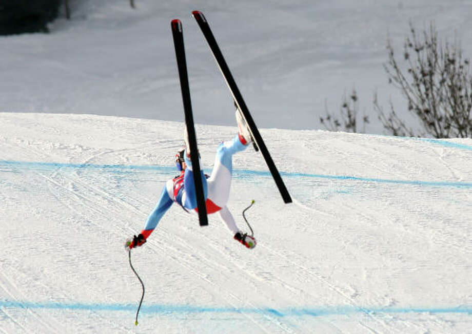 Swiss skier Daniel Albrecht loses control on the Strief run at Kitzbuehel, Austria. Albrecht was hurt on Thursday during training. Photo: GIOVANNI AULETTA, AP