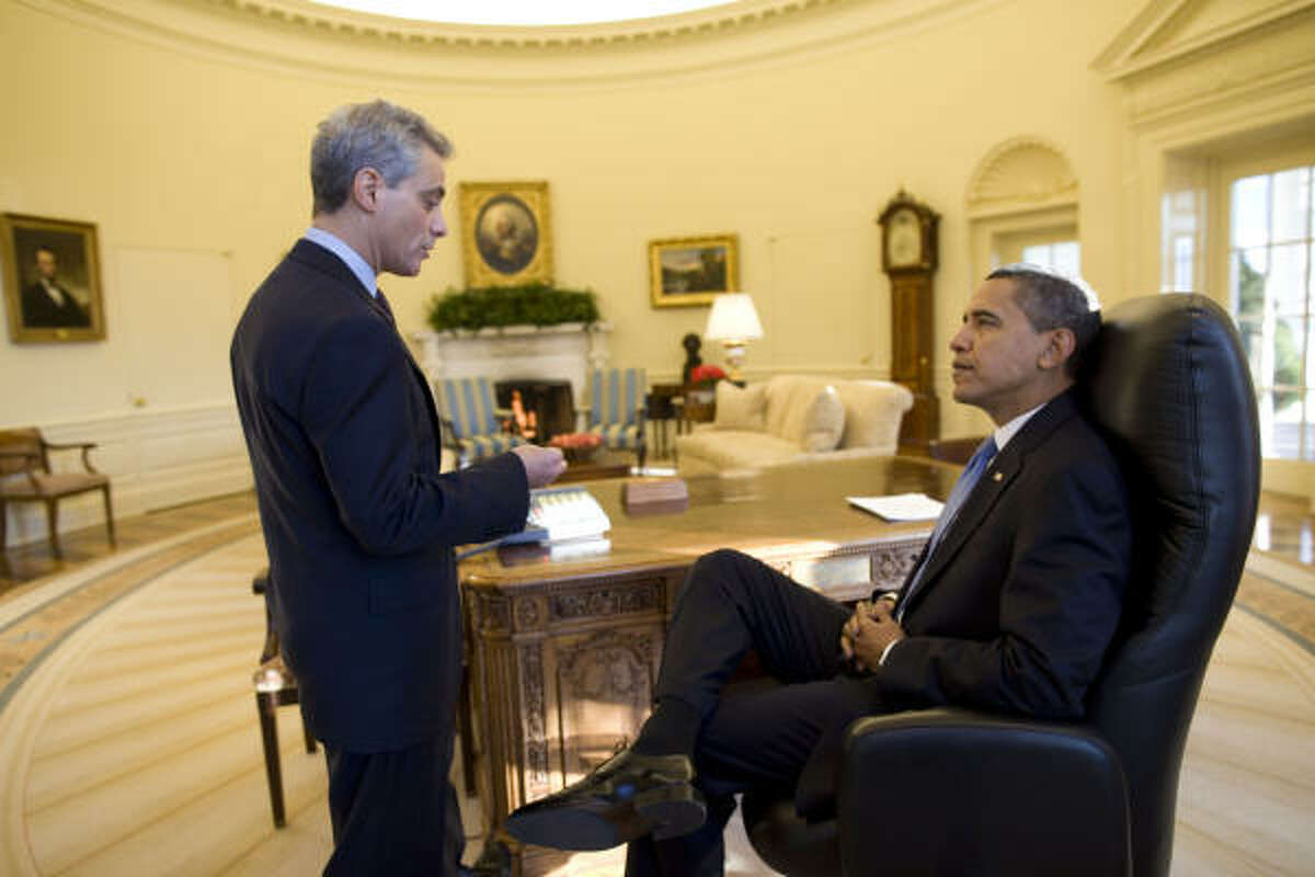 President Barack Obama meets with White House Chief of Staff Rahm Emanuel Wednesday morning in the Oval Office at the White House in Washington, D.C.