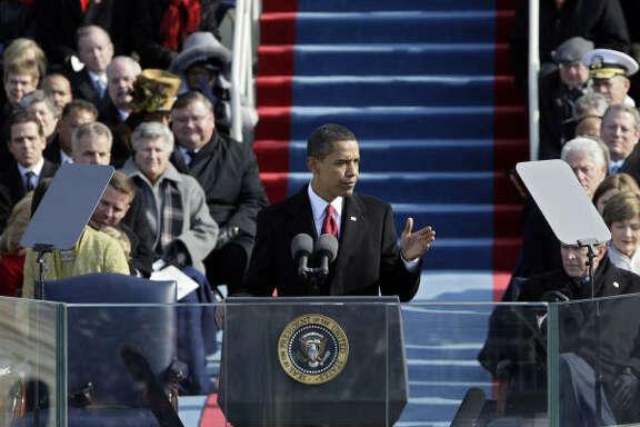 Obama delivers his inagural address.
