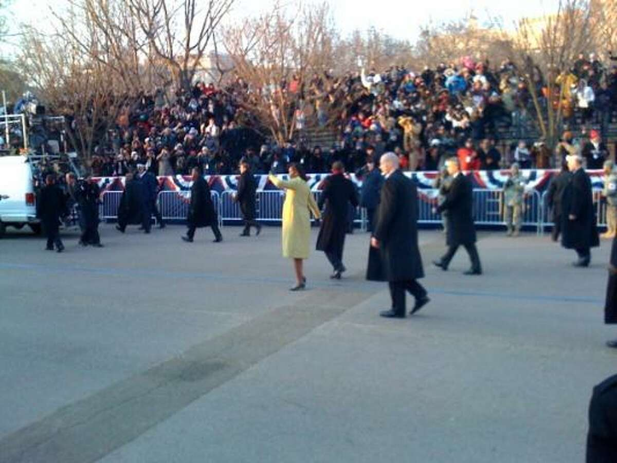 We were seated in the front row very close to the Presidential viewing area. Barack and Michelle were very close to us as they walked by. I got better pics with my camera than my phone but this gives you an idea of the scene. Al Roker was standing directly across the street.
