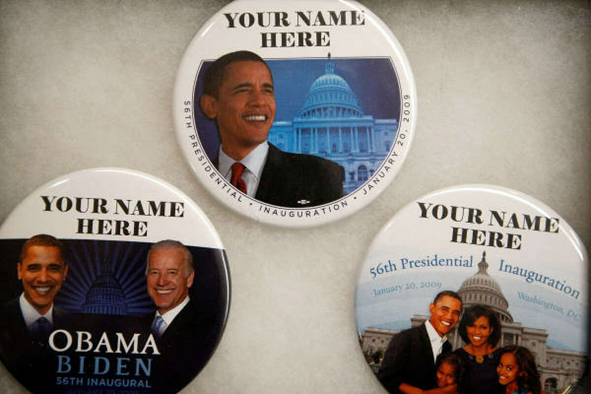 Personalized buttons commemorating the inauguration of President-elect Barack Obama are just some of the merchandise available at Political Americana's inaugural store near the White House in Washington, D.C.