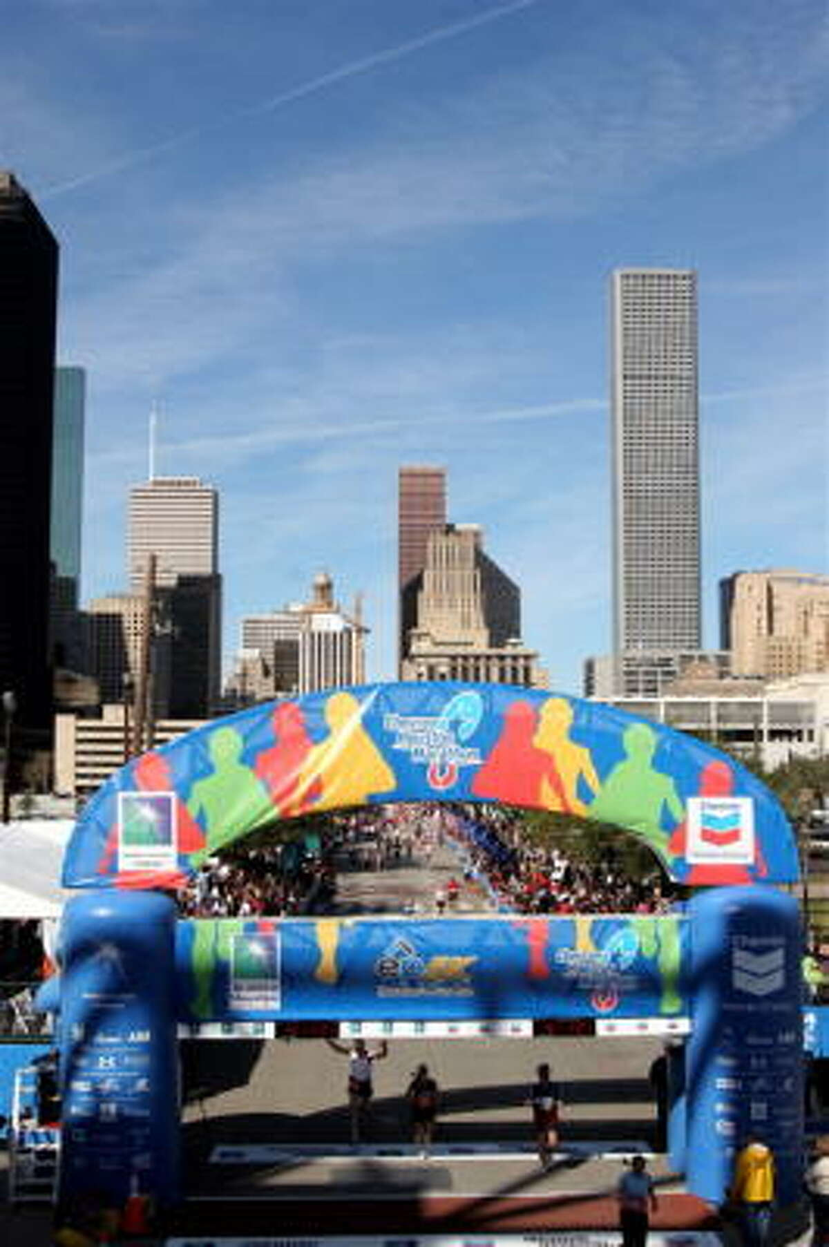 Thousands of runners took part in the Houston Marathon on Sunday.