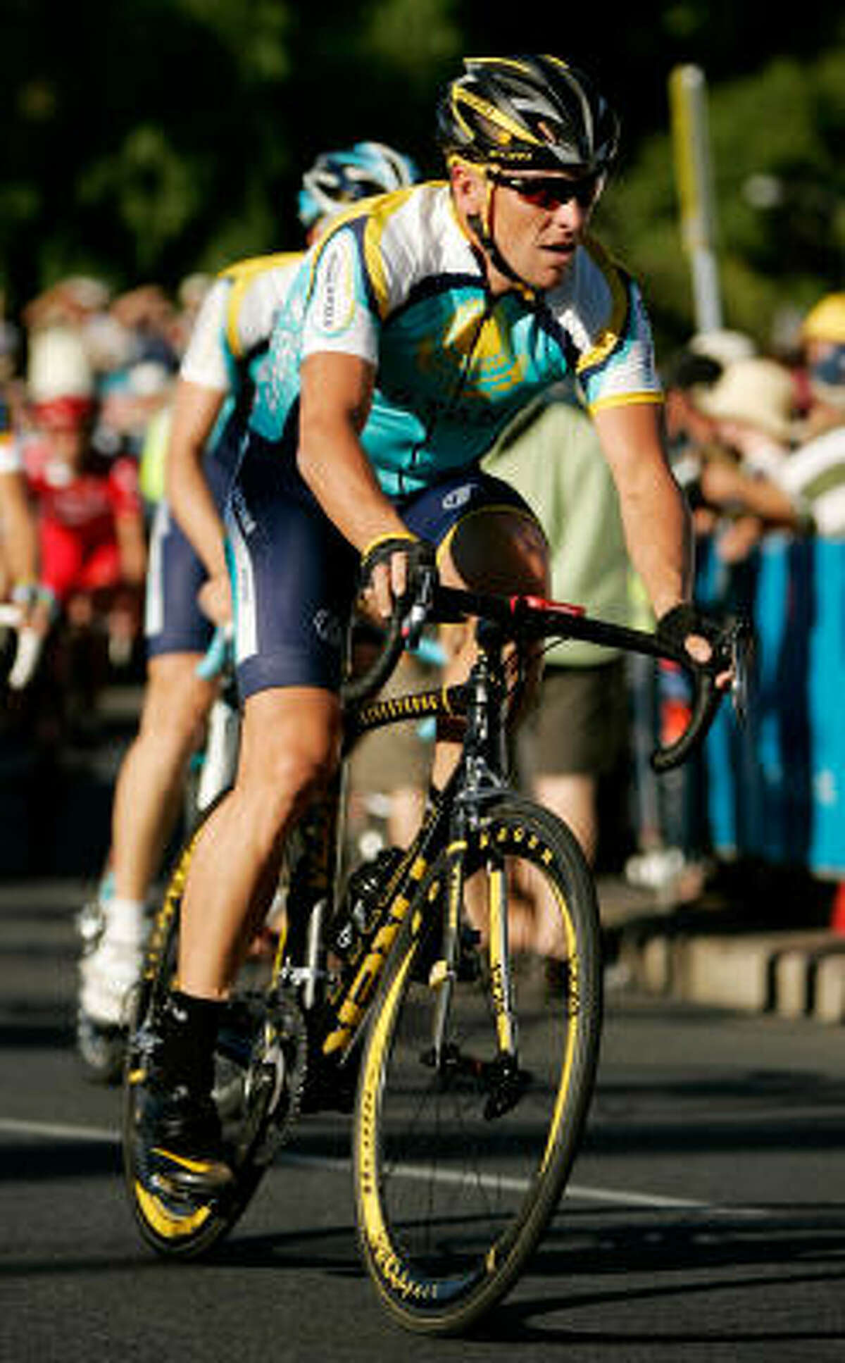 Lance Armstrong rides practice laps before the Down Under Classic held in Adelaide, Australia.