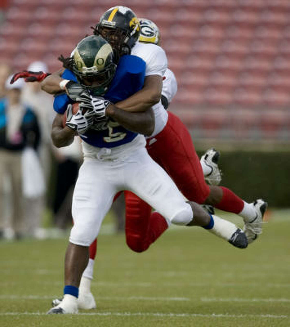West's Gartrell Johnson, a running back from Colorado State, is tackled in the first half.
