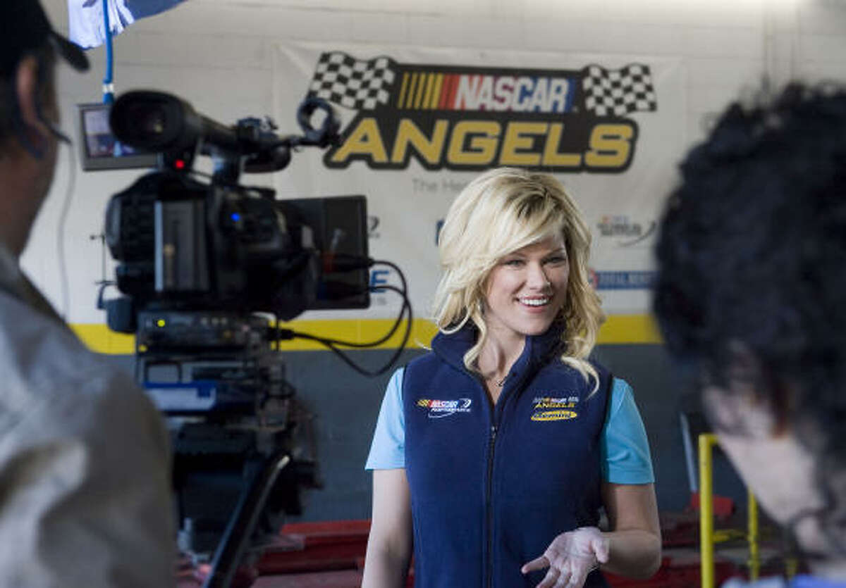 NASCAR Angels Co-Host Shannon Wiseman tapes an episode of NASCAR Angels at Memorial Drive Tire & Auto Wednesday, Jan. 14, in Houston.