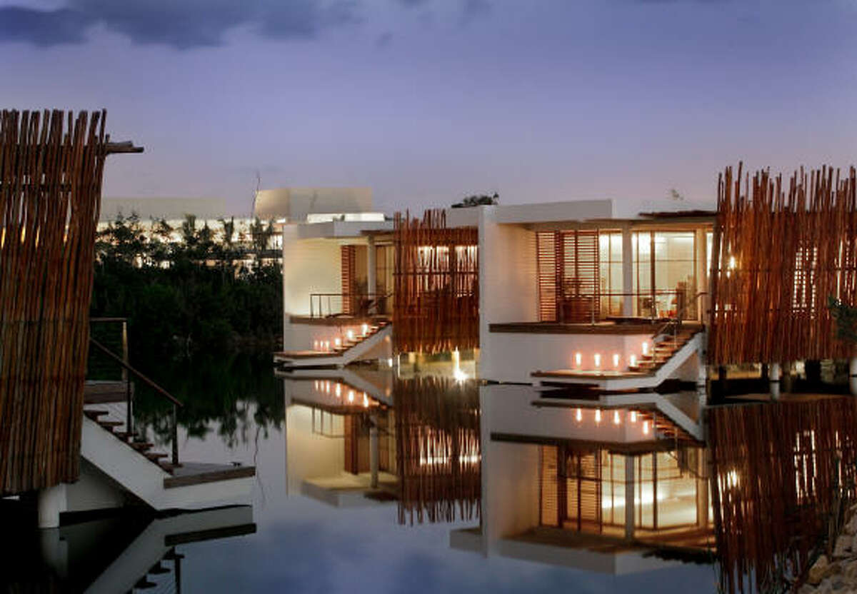 Rooms along the lagoon at Rosewood Mayakoba include plenty of windows. The resort is in the Riviera Maya on the Yucatan coast of Mexico.