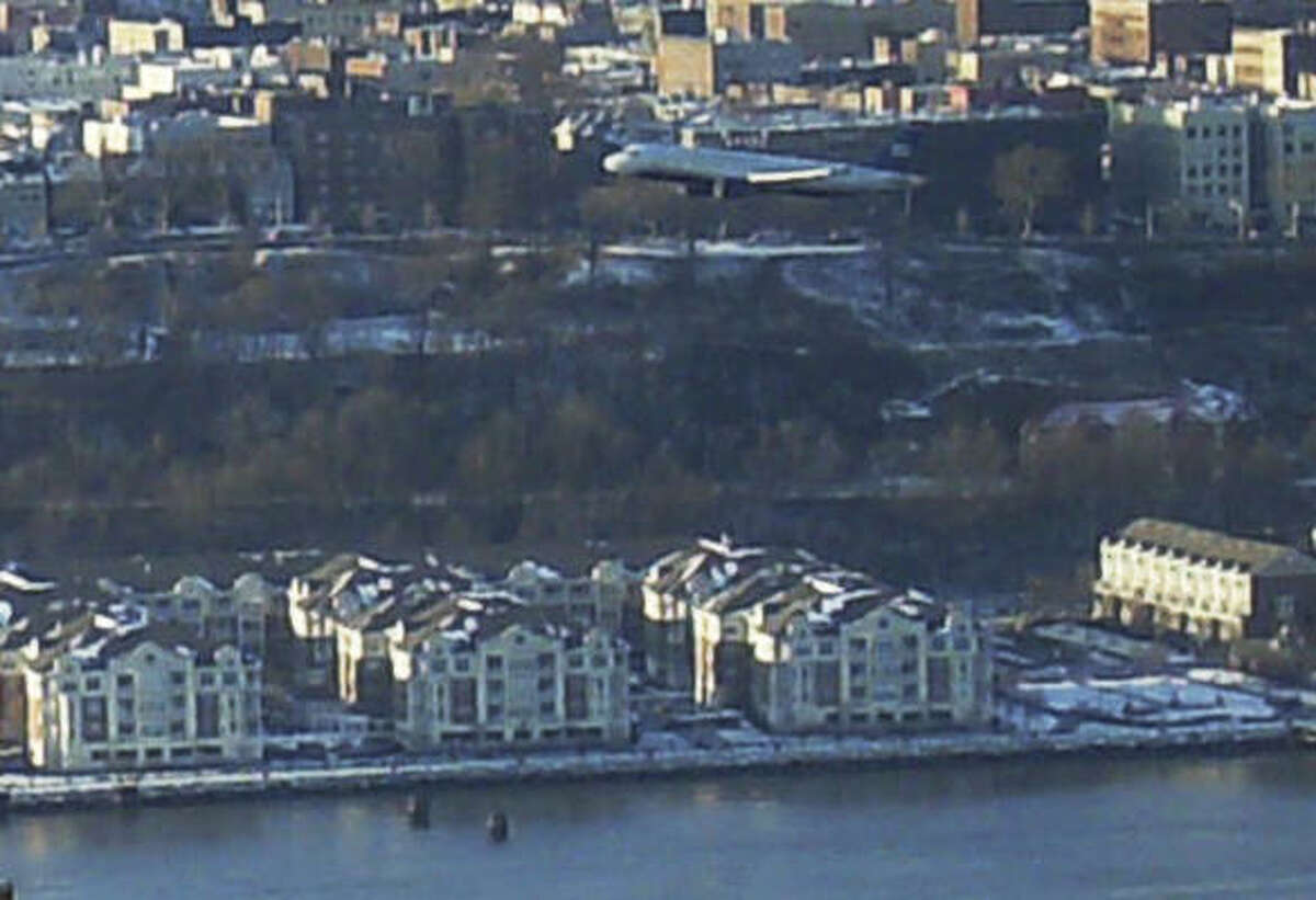 US Airways Flight 1549 descends on its way to an emergency ditching in the Hudson River on Jan. 15.