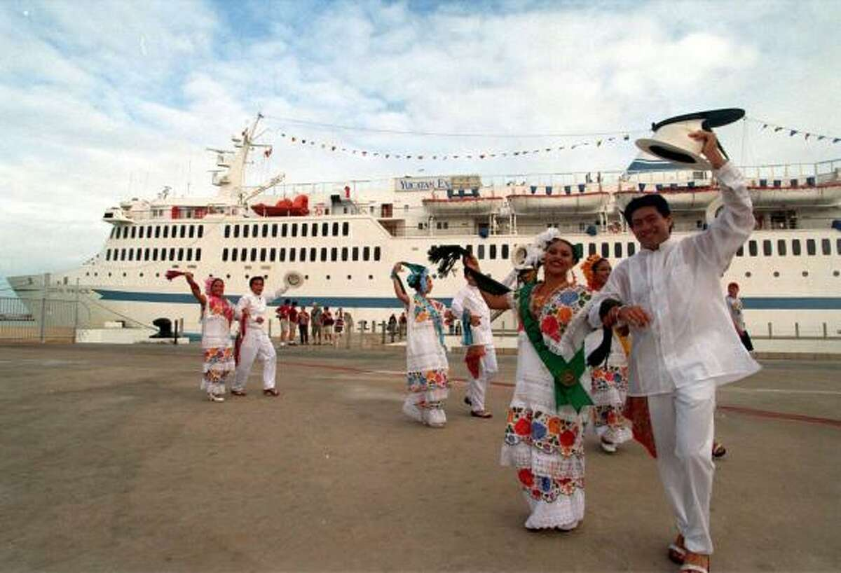 Dancers greet the Scotia Prince ferry in the Port of Progreso, Mexico.