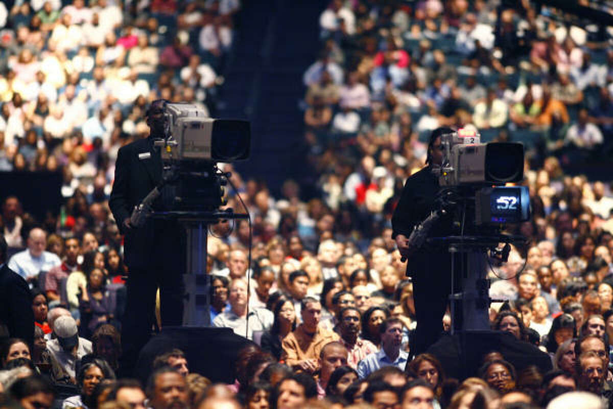 Multiple TV cameras record Lakewood services for worldwide broadcast.