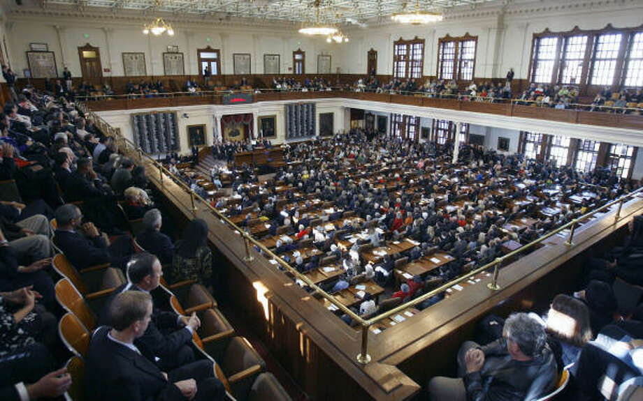 The Chamber Of The Texas House Of Representatives, Filled With Lawmakers  And Spectators. Photo .
