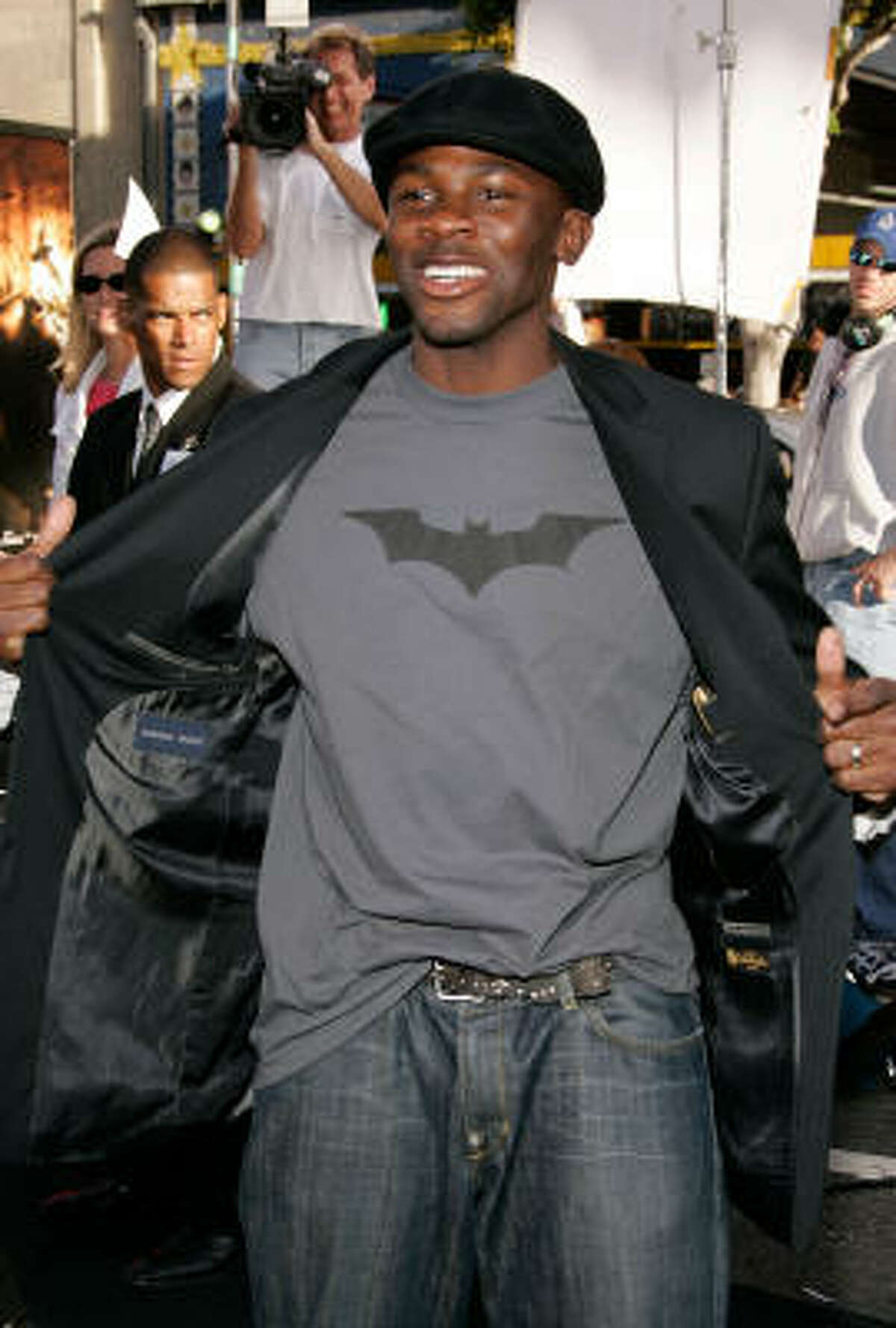 Here, Derek Luke shows off his favorite look: a hat with T-shirt and jeans.