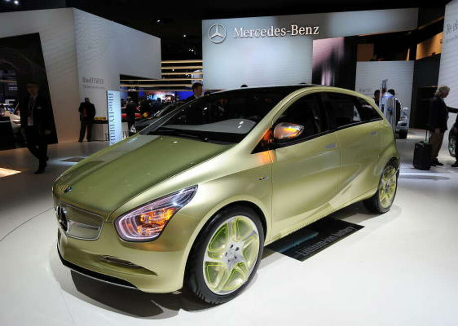 The Mercedes-Benz BlueZero E-Cell concept car on display during the first press preview day at the North American International Auto Show January 11, 2009 in Detroit, Michigan. Photo: STAN HONDA, AFP/Getty Images