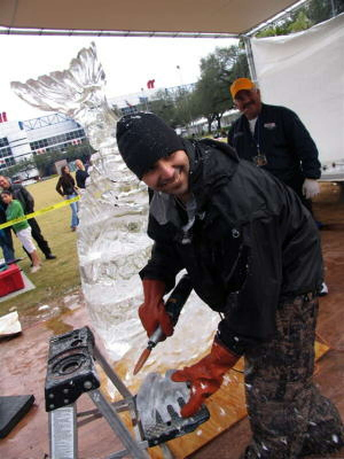 The Vegas Iceman gets down to business. He was one of seven ice-sculpting artists to take part in a competition at Discovery Green, located at 1500 McKinney.