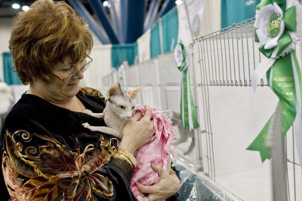 Los Angeles resident Dee Dee Cantley shows off her best-of-show kitten, a Sphynx named Nar E.