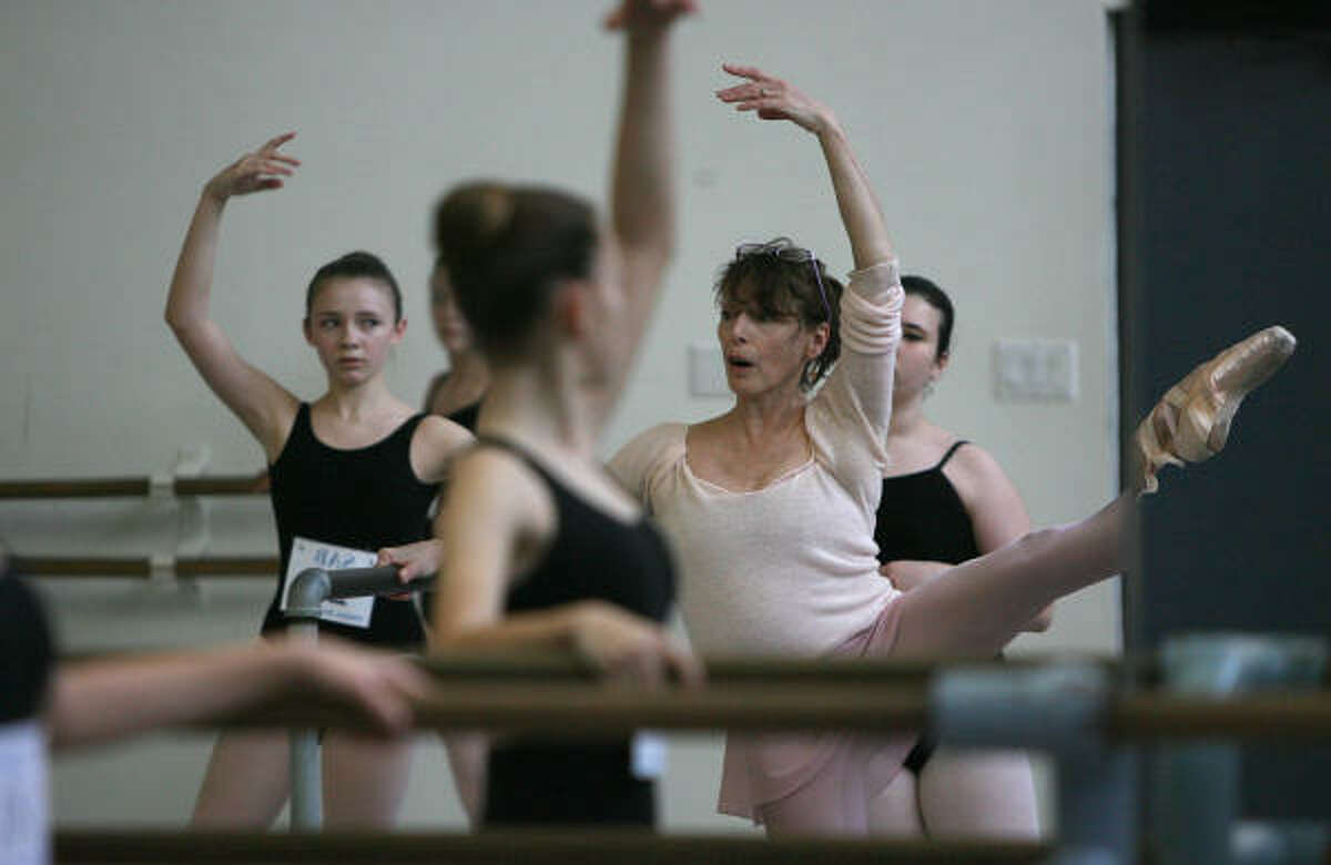 Susan Pilarre, faculty member of School of American Ballet and former dancer with New York City Ballet, instructs ballerinas during the School of American Ballet's 2009 Summer Courses.