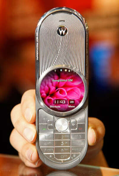 Motorola's new Aura phone is displayed at the 2009 International Consumer Electronics Show at the La