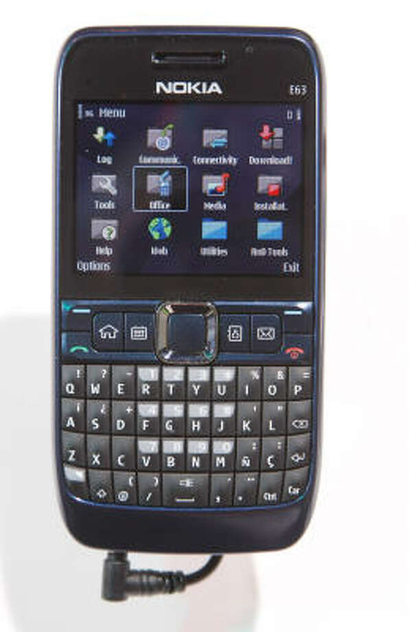 A nokia E63 phone is displayed at the 2009 International Consumer Electronics Show Jan. 8. Designed for heavy e-mail users, the $279 device and features Bluetooth, Wi-Fi, a 2-megapixel camera and no carrier contract. Photo: Ethan Miller, Getty Images