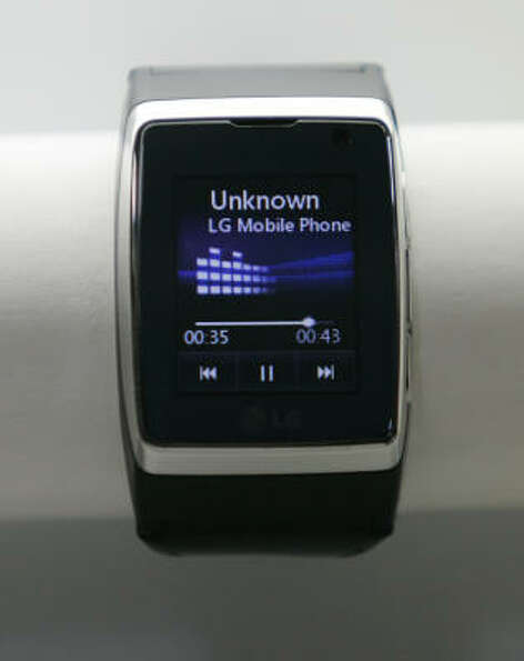 A cell phone watch by LG is shown at the LG booth at the International Consumer Electronics Show in