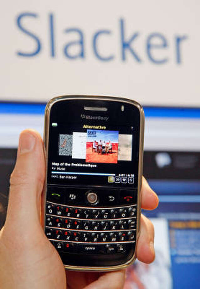 A Blackberry Bold with the new Slacker personalized radio application is displayed at the 2009 International Consumer Electronics Show. The application can find the name of a song, provide album reviews and personalizes play lists. Photo: Ethan Miller, Getty Images