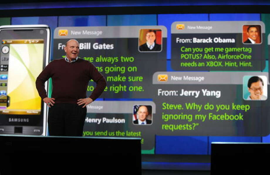 Microsoft CEO Steve Ballmer, assisted by a bit of e-humor in the background, gives the opening keynote address at the 2009 Consumer Electronics Show in Las Vegas. Photo: ROBYN BECK, AFP/Getty Images