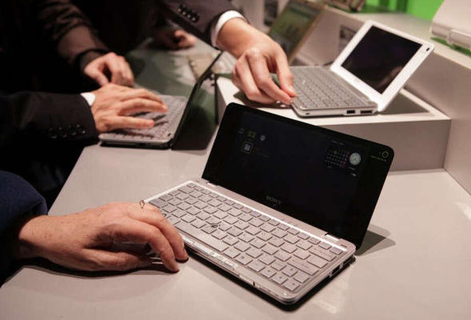 Sony's new VAIO P series 8-inch notebooks. Photo: Jae C. Hong, AP