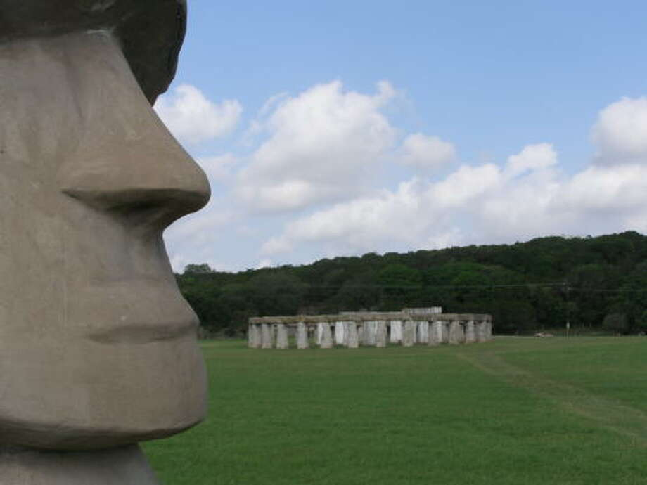 STONEHENGE: The Stonehenge II site at Hunt is two-thirds the size of the original circle of stones on England's Salisbury Plain. It's augmented by two Easter Island-style heads for good measure. The exhibit, the vision of late landowner Al Shepperd and designer and builder Doug Hill, is on private land but is open to the public. Photo: MARK BABINECK, CHRONICLE