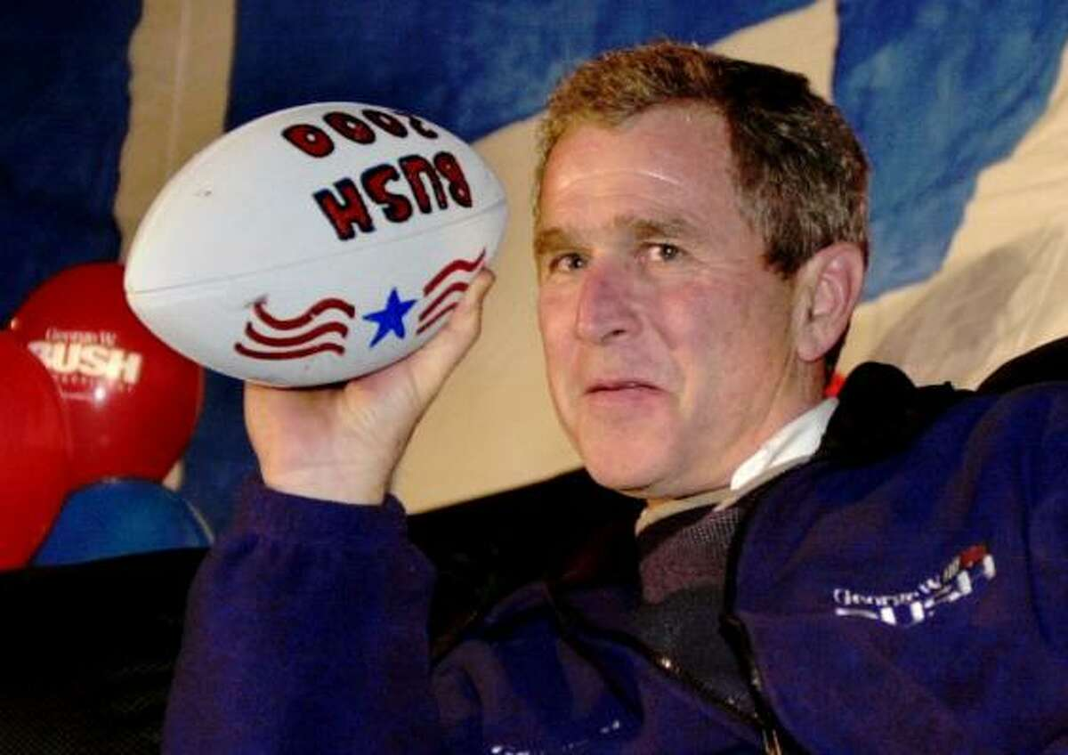 Back when the presidency was just a twinkle in his eye, sports fan and then-Texas Gov. George W. Bush held a Super Bowl party inside an airport hangar during his 2000 campaign in Portsmouth, N.H.