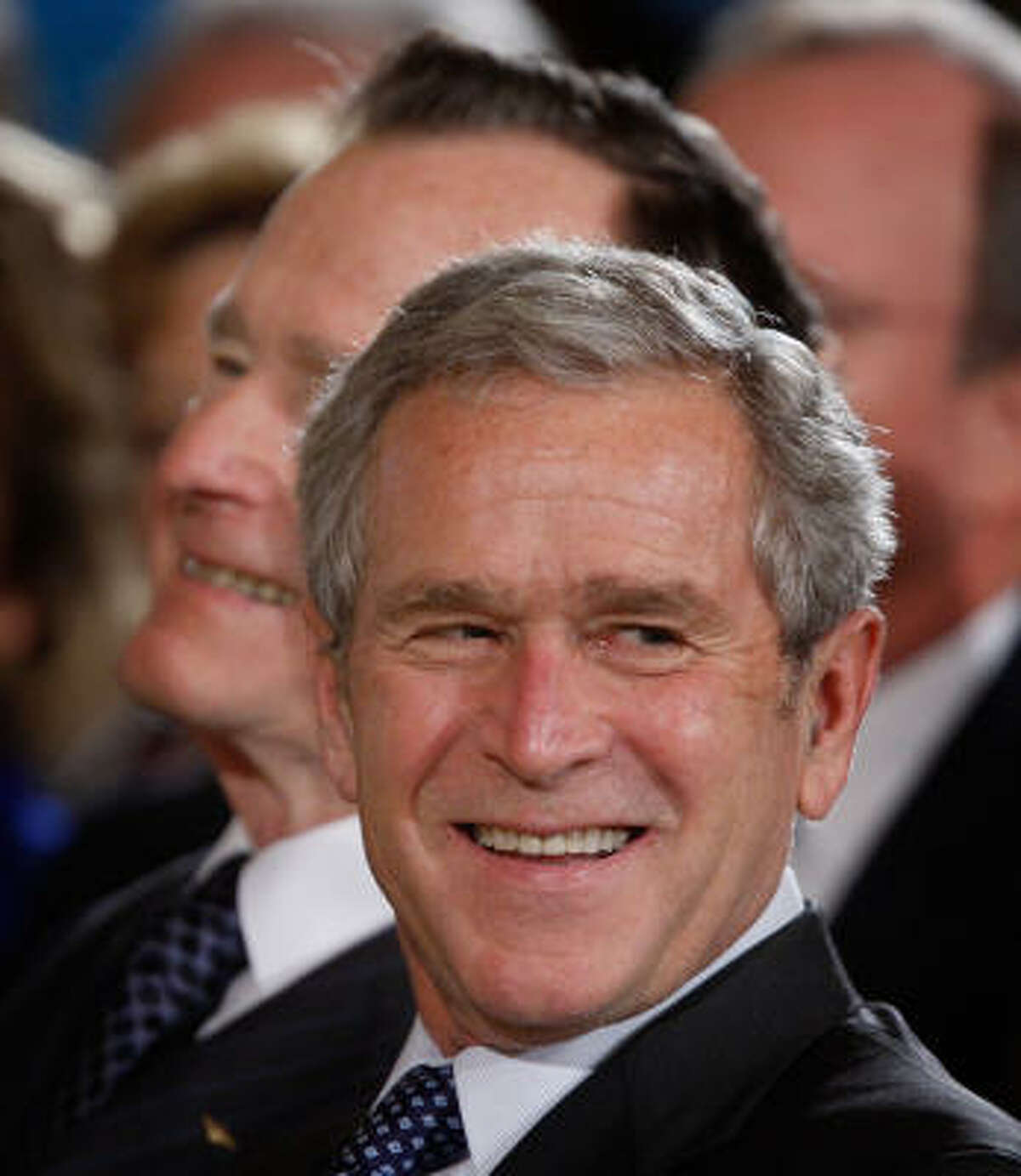 Lately, President George W. Bush's once-auburn locks have given way to gray. He faced the Sept. 11 terror attacks, Hurricane Katrina and seemingly endless criticism during his eight years in office.