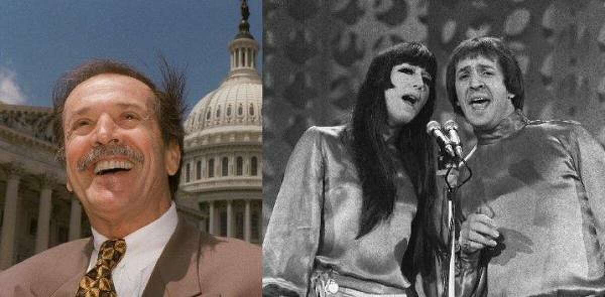 Sonny Bono Sonny Bono first rose to fame with Cher as a musical comedy team in the 1970s. Bono went on to be mayor of Palm Springs from 1988 to 1992. And in 1994, the Republican was elected to the House seat representing California's 45th District, which includes Palm Springs. Bono died in 1998 in a skiing accident.