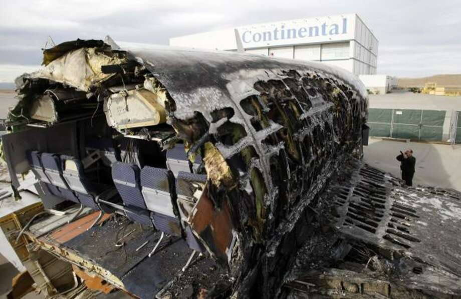 The wreckage of Continental Airlines flight 1404 on sits outside a hangar at Denver International Airport Jan. 5, where investigators from the National Transportation Safety Board have been examining the aircraft. Photo: David Zalubowski, AP