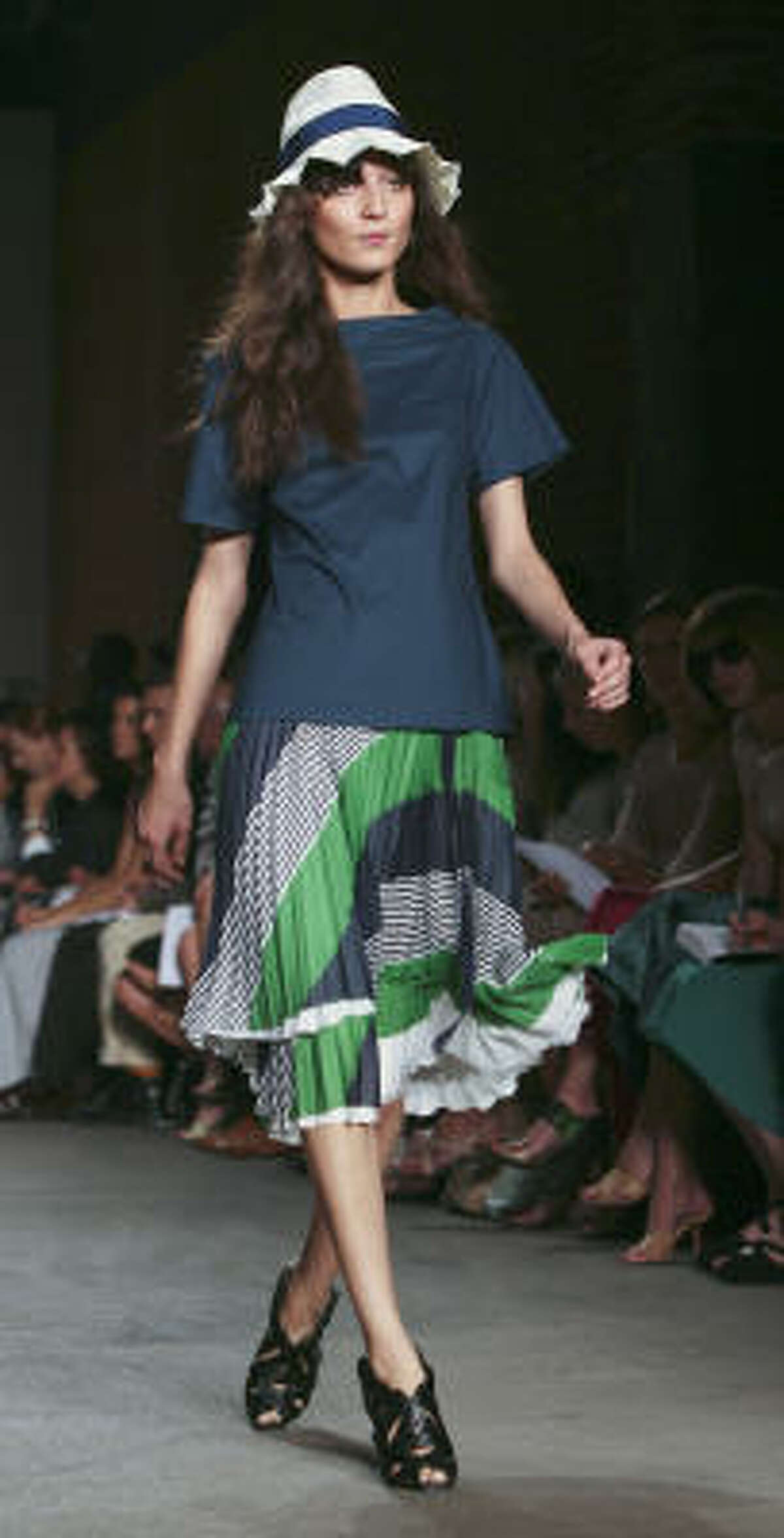 This striped dress was from a recent runway collection, sold at designer prices. (As much as $800 for a skirt, according to a Los Angeles Times reporter who bought one.)