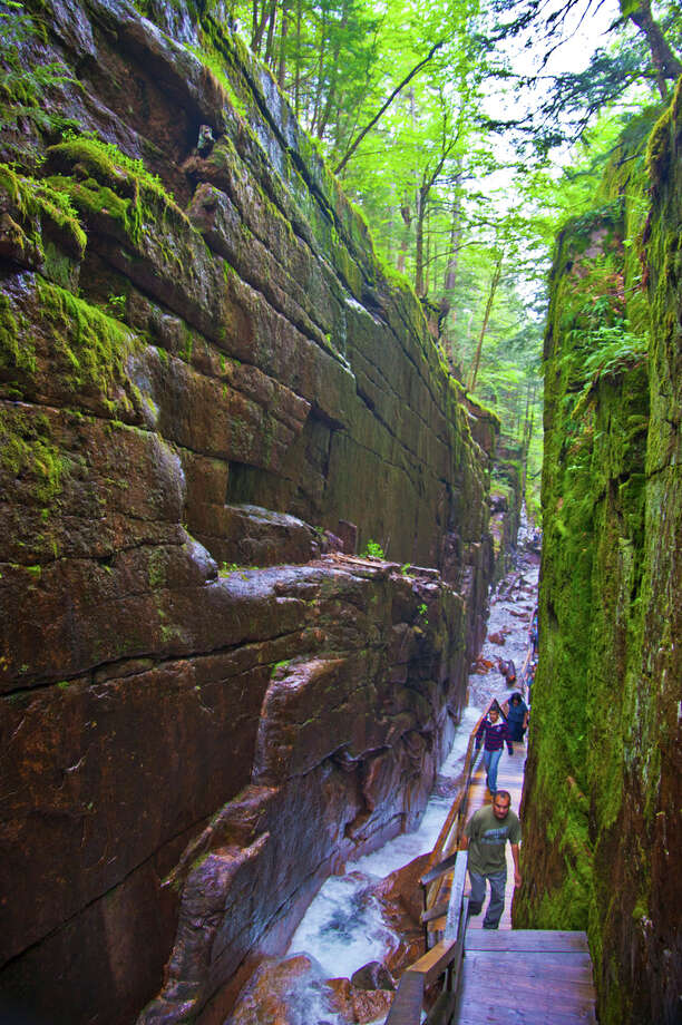 The high, narrow granite walls of the Flume Gorge can include claustrophobia. JOSHUA TRUDELL / SPECIAL TO THE EXPRESS-NEWS